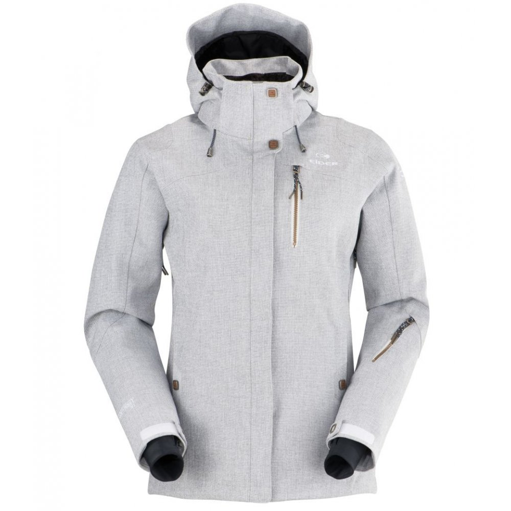 Eider Red Square Womens Ski Jacket In White Grey