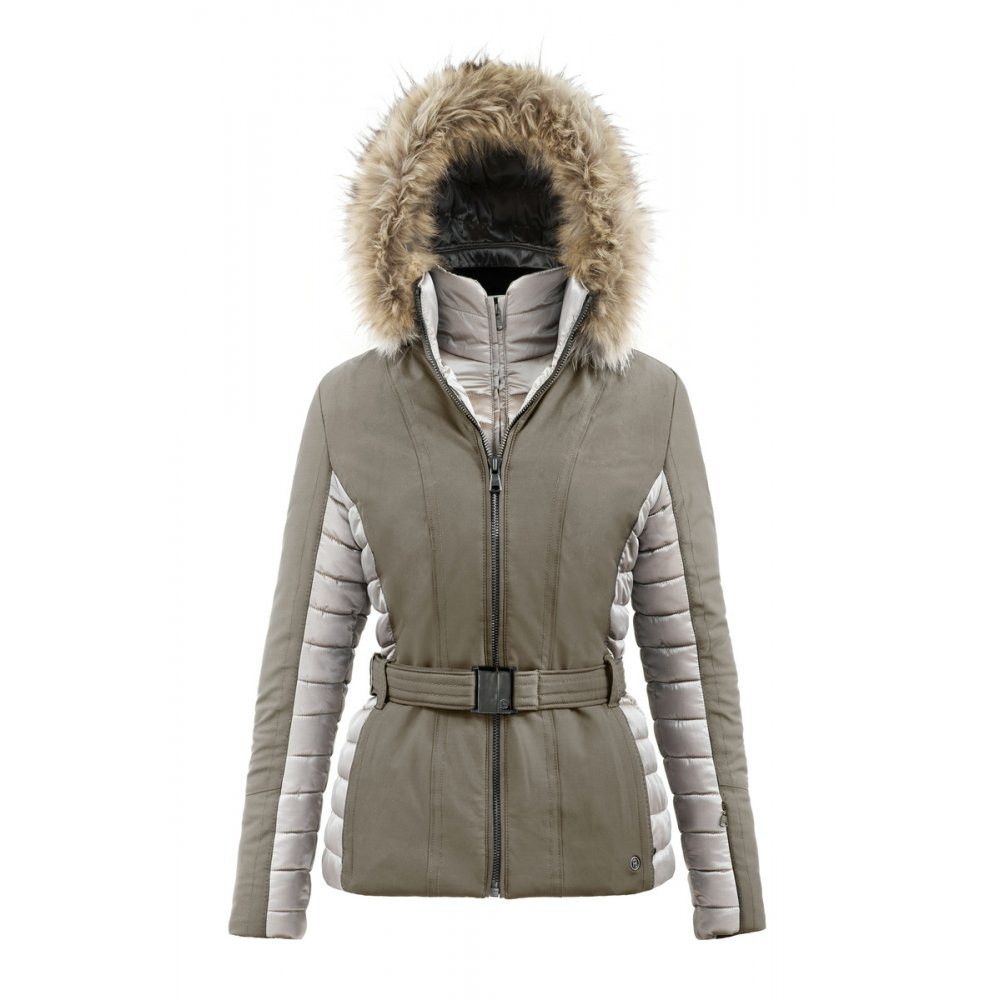 Poivre Blanc Womens Quilted Belted Ski Jacket In Daim