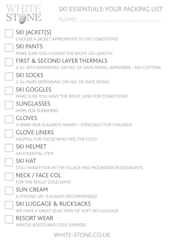 Ski Packing Check list