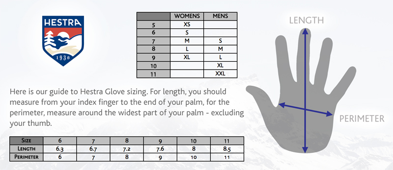 Hestra Ski Gloves - Size Guide
