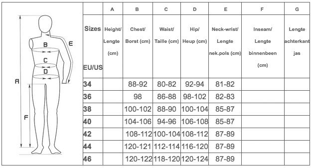 Amgwand Womens Ski Wear Size Guide