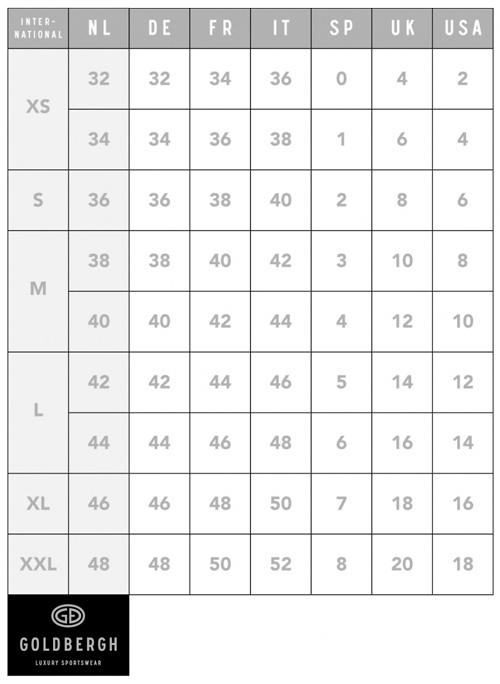 Goldbergh Size Guide