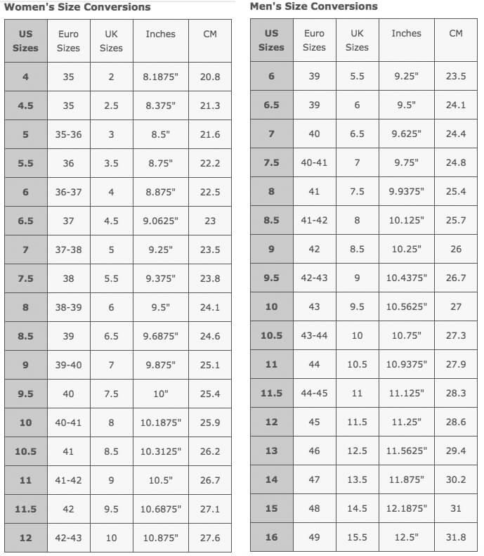 La Thuile Boots - Size Guide