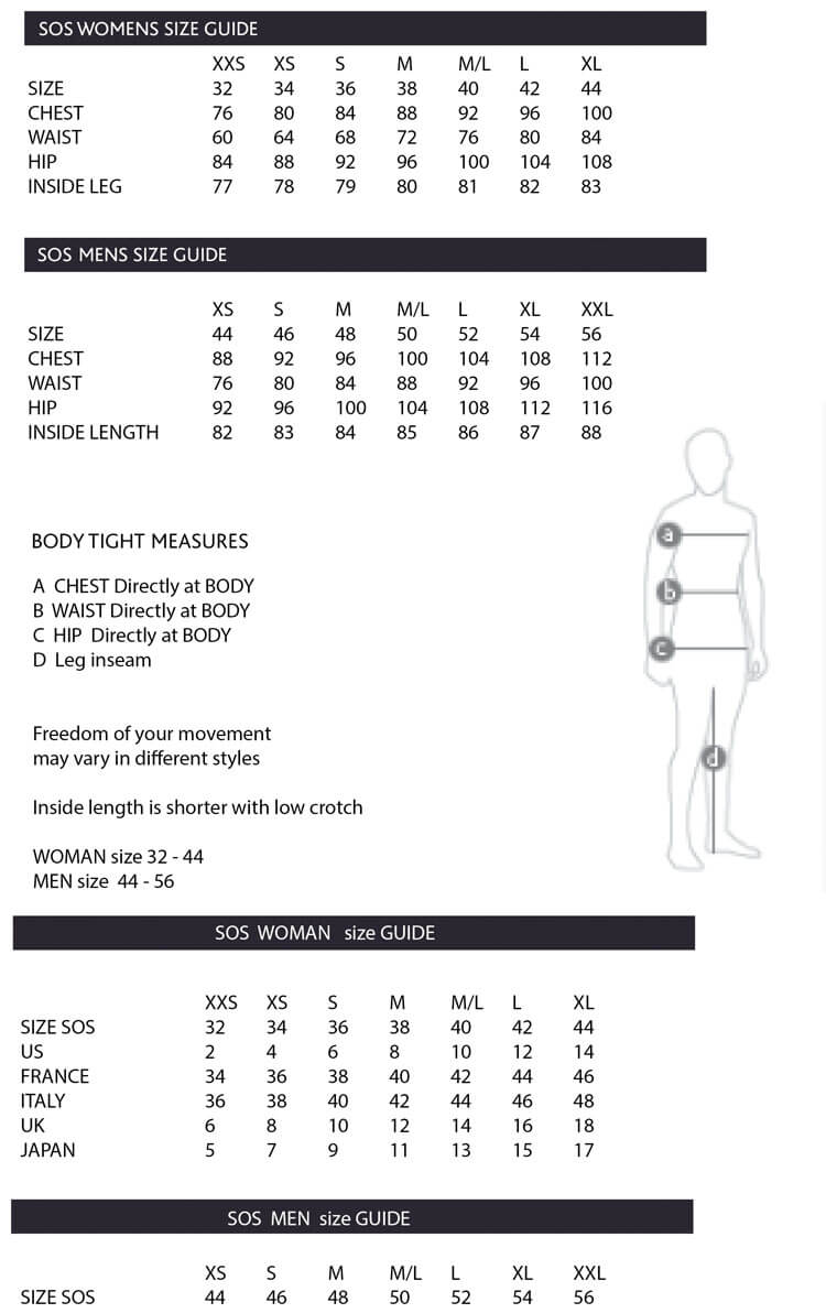 SOS SKi Wear Size Guide