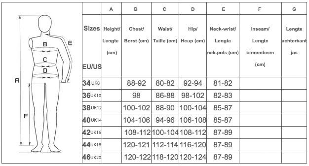 Almgwand size guide