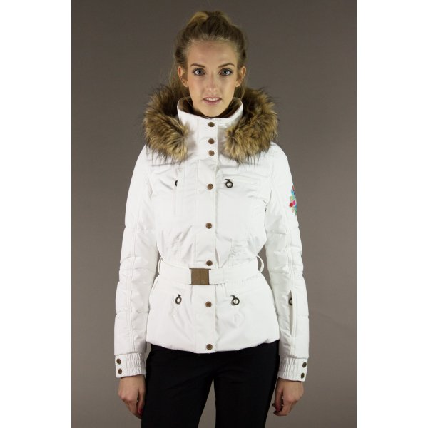 8f3c1ca7ce Poivre Blanc Belted Womens Ski Jacket In White