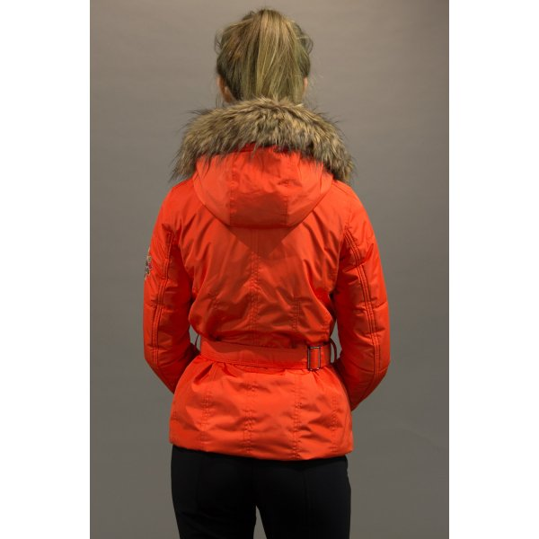Poivre Blanc Belted Womens Ski Jacket In Flamme