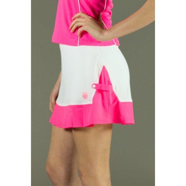 K Swiss Mesh Pleat Womens Tennis Skirt In White And Neon Red
