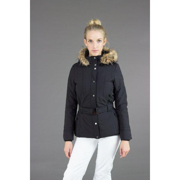 016296b866 ... Poivre Blanc Belted Stretch Ski Jacket in Black with Faux Fur ...