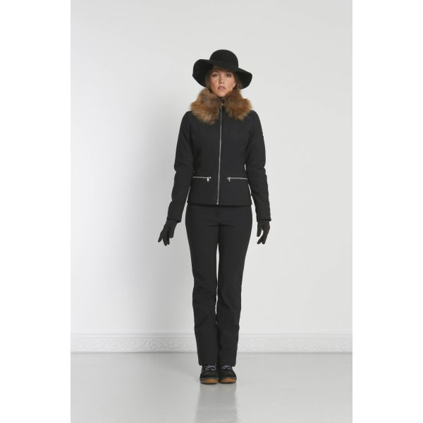 bdd78ffcc3 ... Poivre Blanc Povire Blanc Womens Softshell Ski Jacket with Faux Fur in  Black. ‹
