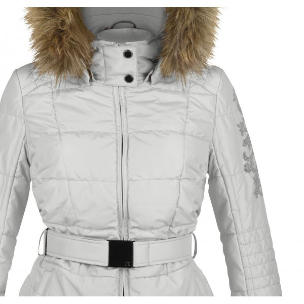 Poivre Blanc Silver Womens Belted Ski Jacket Faux Fur Trim