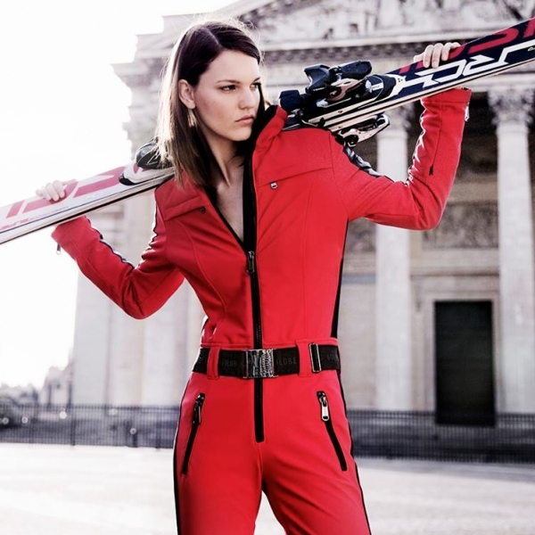 goldbergh phoenix  womens ski suit in red  red onepiece