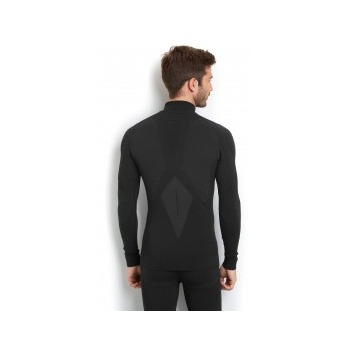 Falke Athletic Longsleeved Zip Shirt Mens Ski Thermals in Black