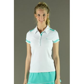 Poivre Blanc Womens Tennis Polo in White and Riviera