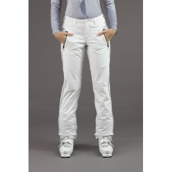 BOGNER Nikka Womens Softshell Ski Pant in White/Silver Stripe