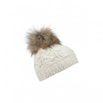 Bogner Drew Womens Designer Ski Hat in Cream