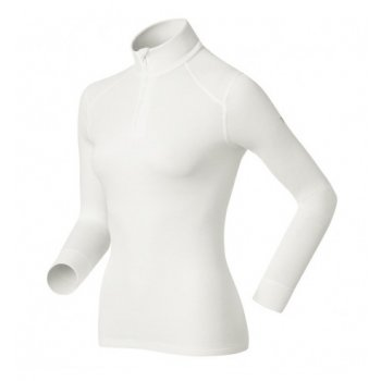 Odlo Warm Shirt L/S Turtle Zip Neck Womens Baselayer in White