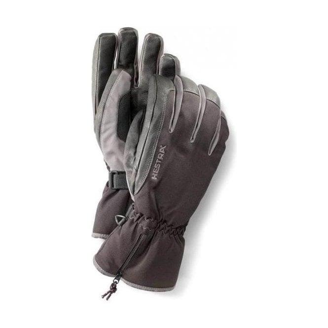 HESTRA SKI GLOVES Hestra C-Zone Leather Ski Glove in Black/Grey