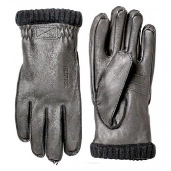 Hestra Ski Gloves Hestra Deerskin Primaloft Rib Mens Ski Gloves in Black