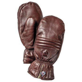 Hestra Ski Gloves Hestra Leather Swisswool Classic Ski Mitt in Brown
