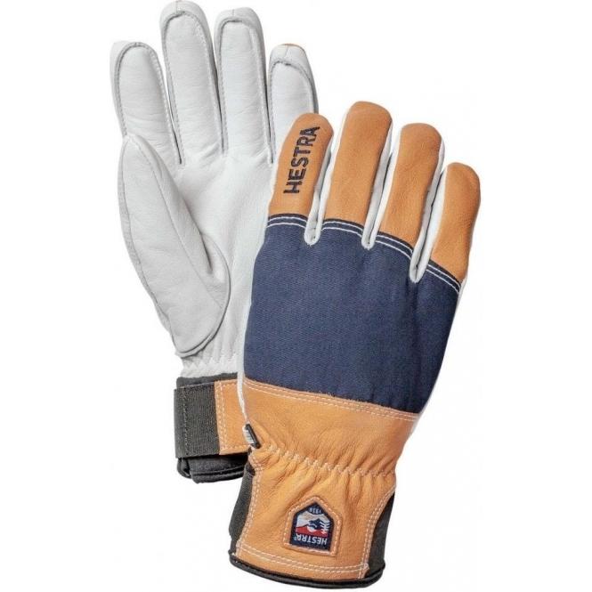 HESTRA SKI GLOVES Hestra Army Leather Abisko Mens Ski Glove in Navy and Brown