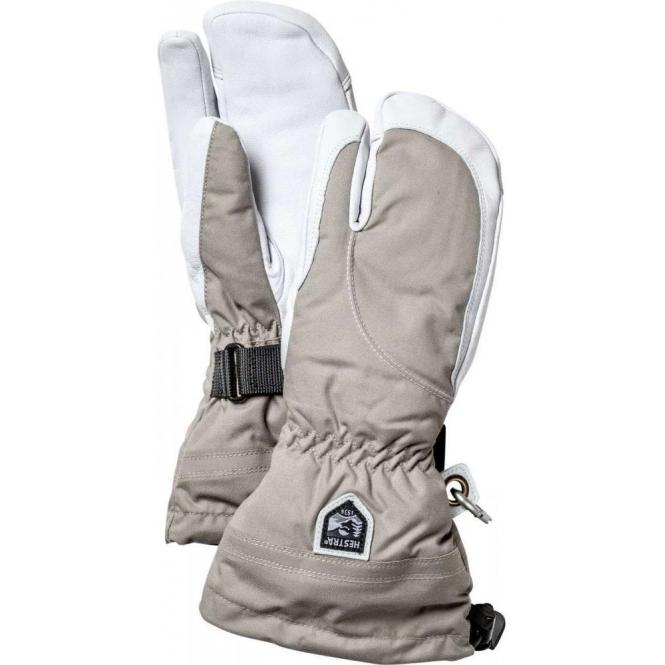 HESTRA SKI GLOVES Hestra Womens Army Leather Heli Ski 3 Finger Glove in Khaki/White
