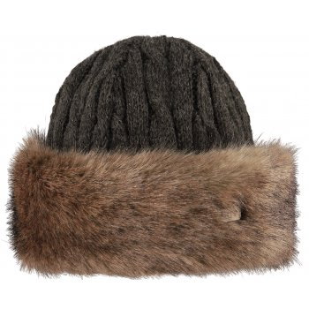 Barts Fur Cable Bandhat Ski Hat in Heather Brown