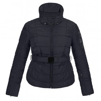 Poivre Blanc Girls Belted Ski Jacket With Fleece Collar in Navy