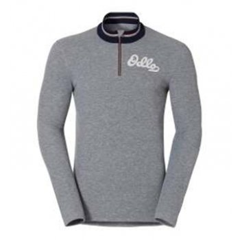 Odlo Vallee Blanche Mens 1/2 Zip Baselayer Top in Grey Melange