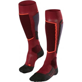 Falke SK2  Womens Ski Socks in Red Plum