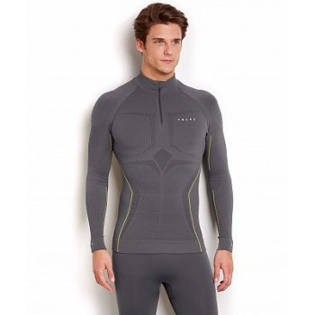 Falke Athletic Longsleeved Zip Shirt Mens Ski Thermals in Carbon