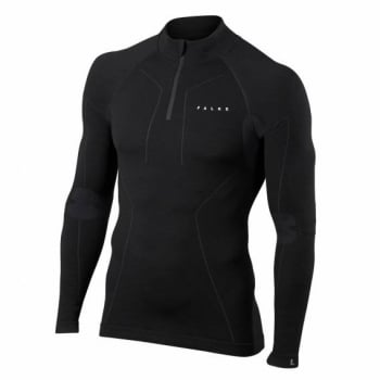Falke Wool Tec LS Zip Shirt Mens Ski Thermal in Black