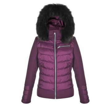Poivre Blanc Quilted Stretch Womens Ski Jacket in Plum Purple