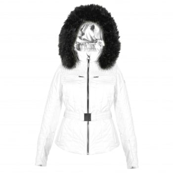 Poivre Blanc Belted Womens Ski Jacket in White