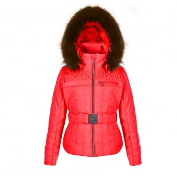 Poivre Blanc Belted Junior Girls Ski Jacket in Cherry Red