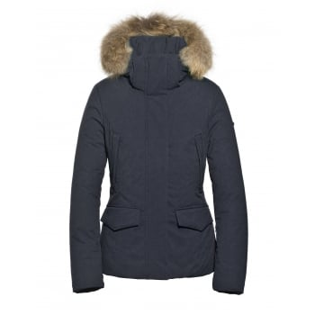 Goldbergh Irma Faux Fur Womens Ski Jacket in Dark Navy