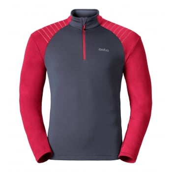 Odlo Pact 1/2 Zip Mens Midlayer in Ombre Blue and Jester Red