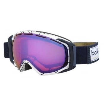 Bolle Gravity White & Blue Ski Goggle with Aurora Lens