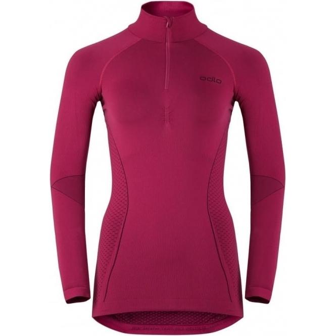 ODLO Evolution Warm 1/2 Zip Shirt Womens Baselayer in Sangria