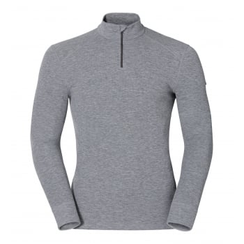 Odlo Warm L/S 1/2 Zip Mens Baselayer Top in Grey Melange