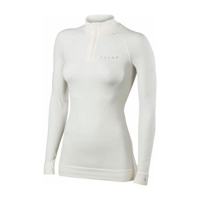 FALKE Womens Wool Tech Zip Shirt Regular Fit in White