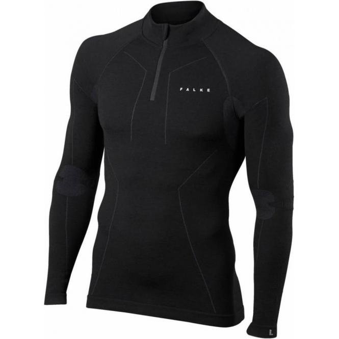 FALKE Mens Wool Tech Zip Shirt Regular Fit in Black