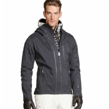 Bogner Kick Mens Ski Jacket in Black With Yellow Down Midlayer