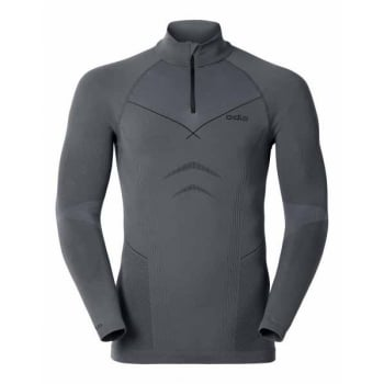 Odlo Evolution Warm 1/2 Zip Mens Baselayer Top in Steel Grey