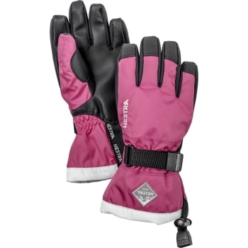 Hestra Ski Gloves Hestra Czone Gauntlet Jr Ski Glove in Fuchsia and Ivory
