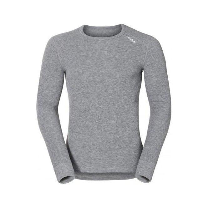 ODLO Warm L/S Shirt Crew Neck Mens Baselayer in Grey Melange