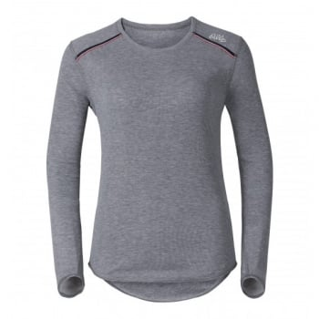 Odlo Vallee Blanche Womens Crew Baselayer Top in Grey Melange