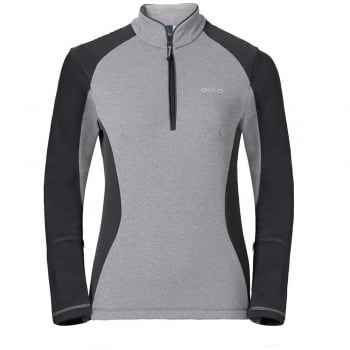 Odlo Pact 1/2 Zip Womens Midlayer in Grey and Graphite Grey