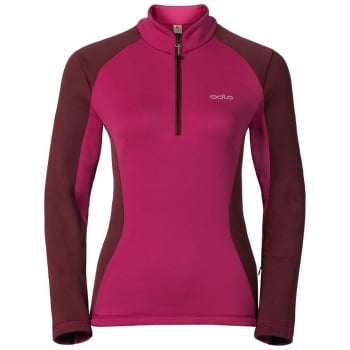 Odlo Pact 1/2 Zip Womens Midlayer in Sangria-Zinfandel
