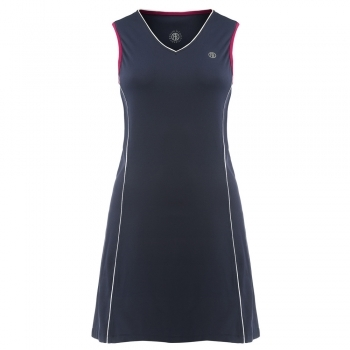 Poivre Blanc Womens Tennis Dress In Marina Blue and Wine Red